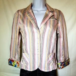 Robert Graham~ Multi-colored Shirt Top Jacket Sz 2